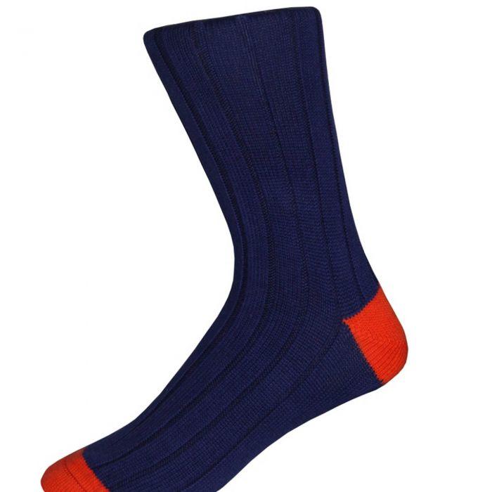 Blue and Orange Cotton Heel & Toe Socks