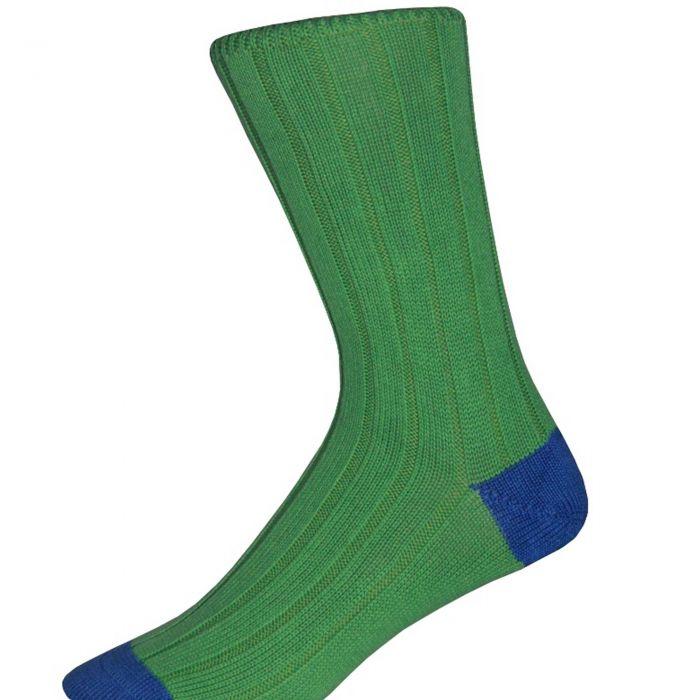 Green and Blue Cotton Heel & Toe Socks