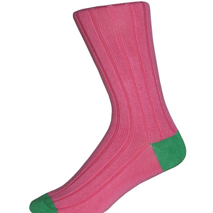Pink and Green Cotton Heel & Toe Socks