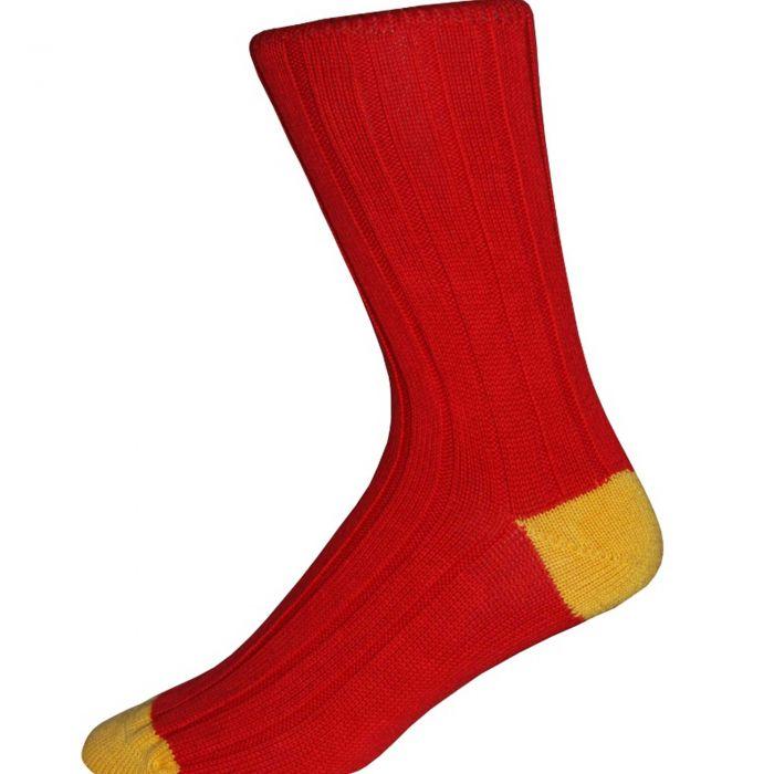 Red and Yellow Cotton Heel & Toe Socks