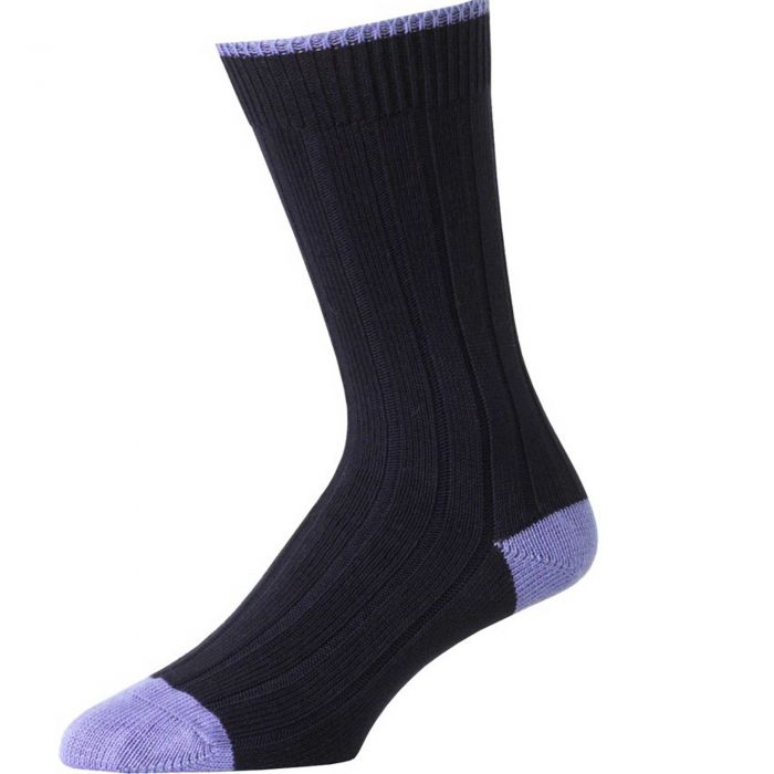 Navy and Light Blue Cotton Heel & Toe Socks