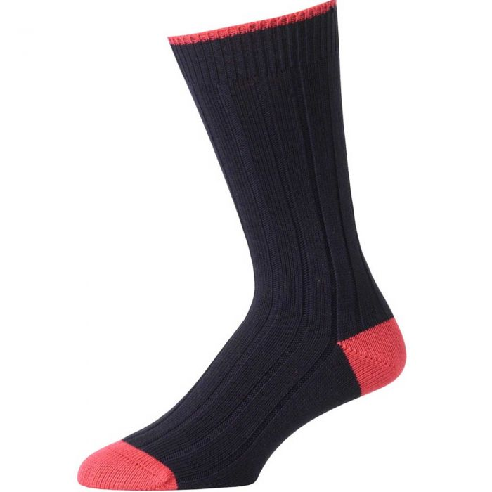 Navy and Red Cotton Heel & Toe Socks