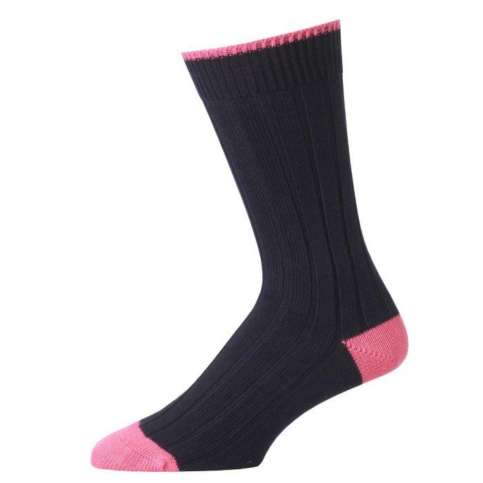 Navy and Pink Cotton Heel & Toe Socks