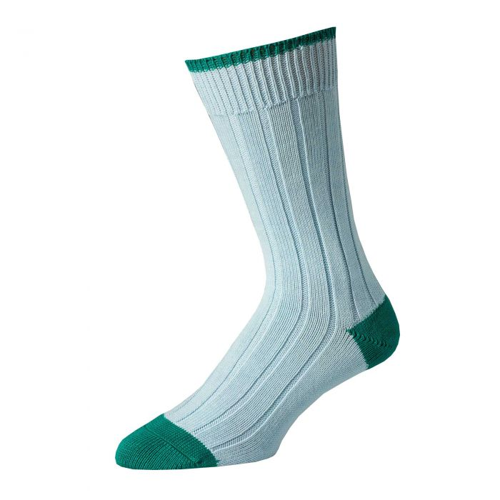 Blue Green Cotton Heel & Toe Socks