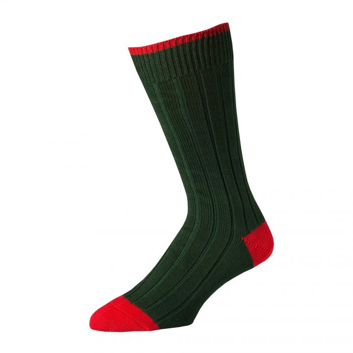 Green Red Cotton Heel & Toe Socks