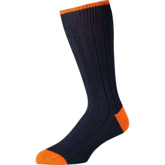 Navy Orange Cotton Heel & Toe Socks