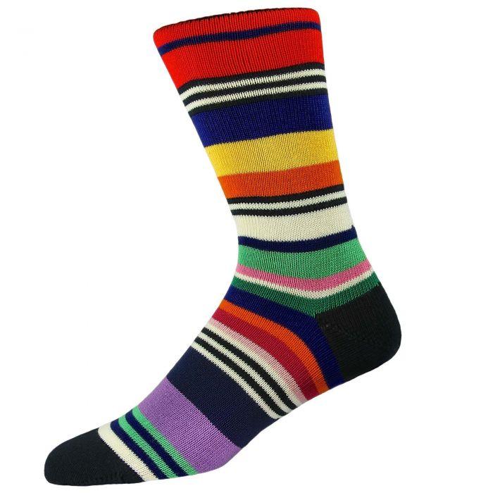 Multi coloured Striped Carnival Sock