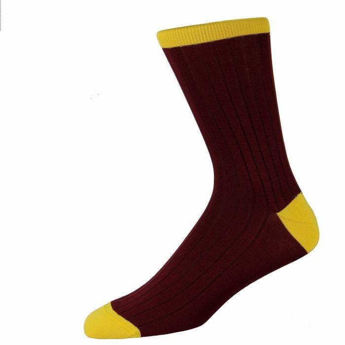Wine Fine Cotton Lisle Heel and Toe Socks