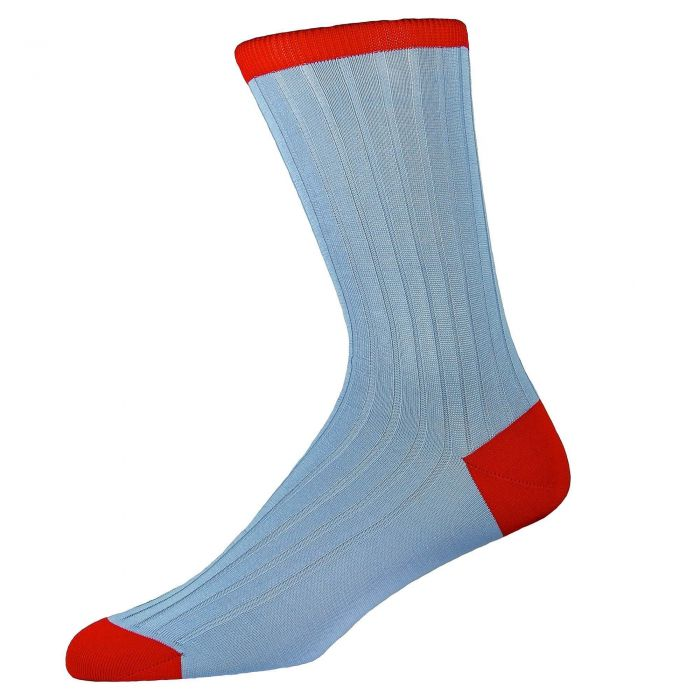 Pale Blue Red Cotton Lisle Kew Sock