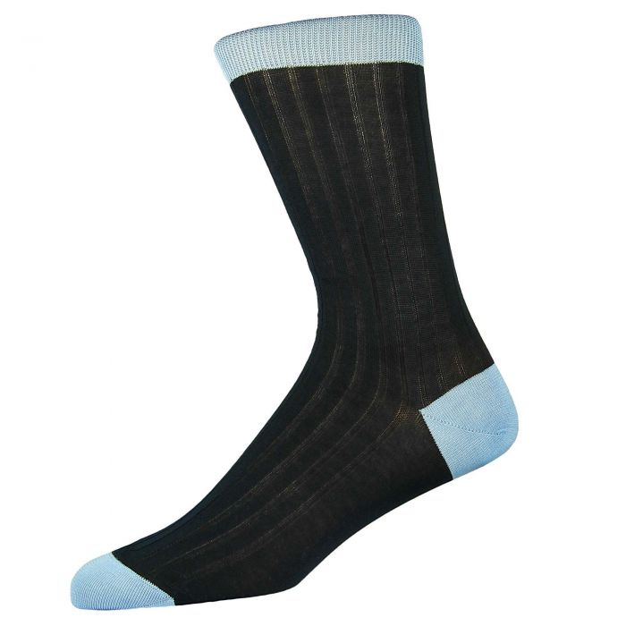 Navy Light Blue Cotton Lisle Kew Sock