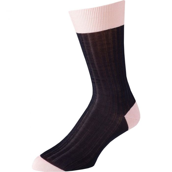 Navy Pink Cotton Lisle Kew Sock