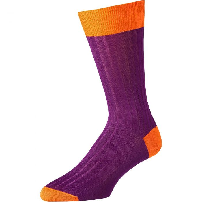 Purple Orange Cotton Lisle Kew Sock