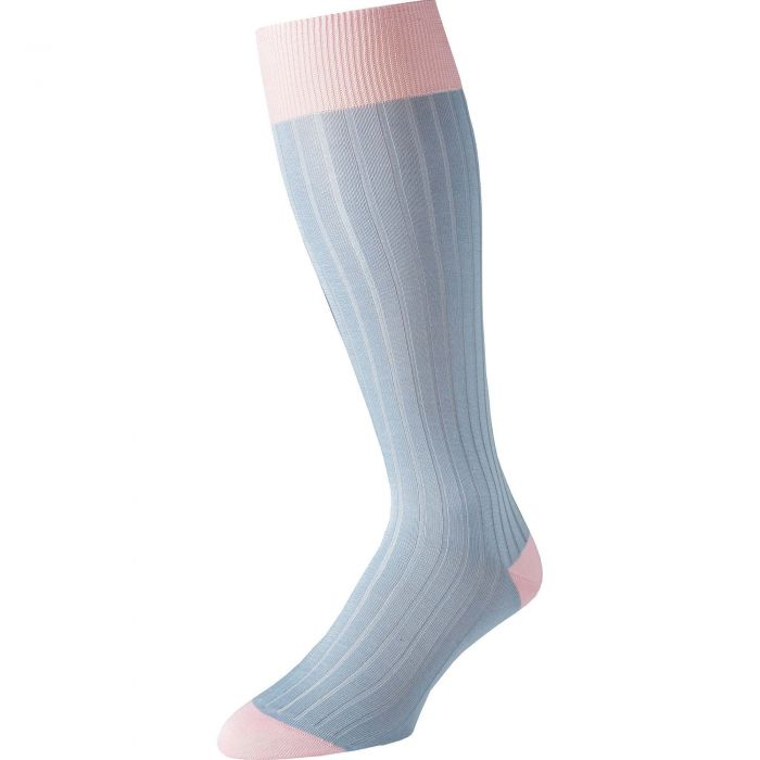 Blue Long Kew Cotton Sock