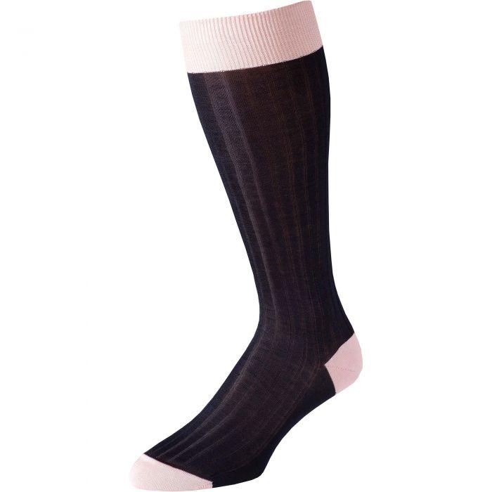 Navy Pink Long Kew Cotton Sock