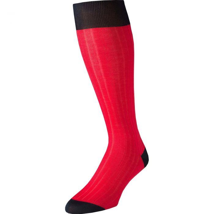Red Long Kew Cotton Sock