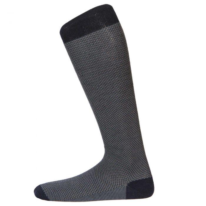 Navy Birdseye Long Sock