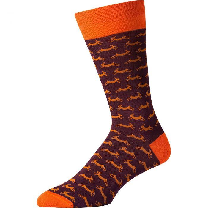 Bordeaux Hare Heel and Toe Sock