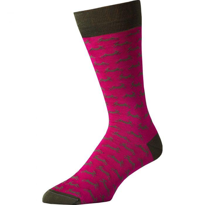 Fuchsia Hare Heel and Toe Sock