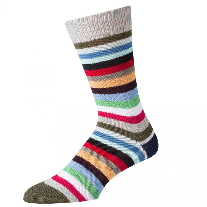Brown First XV Stripe Cotton Sock