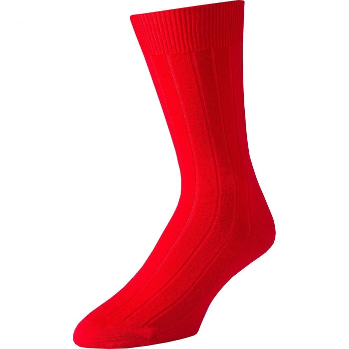 Red Mid Calf Pennine Merino Wool Sock
