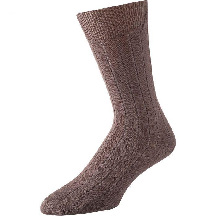 Taupe Calf Pennine Merino Wool Sock