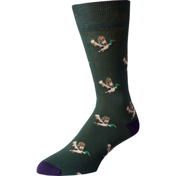 Green Purple Flying Duck Fine Sock
