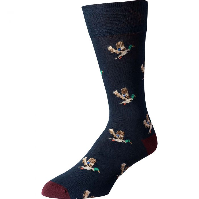 Navy Wine Flying Duck Fine Sock