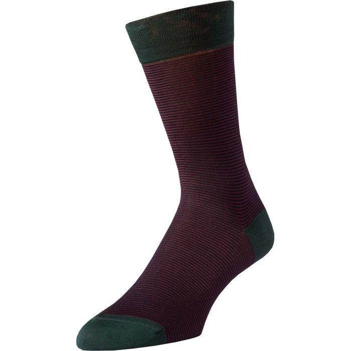 Red Brighton Stripe Cotton Sock