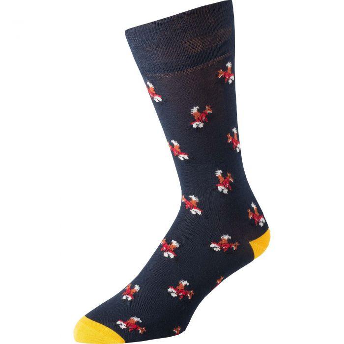 Navy Fox Fine Sock