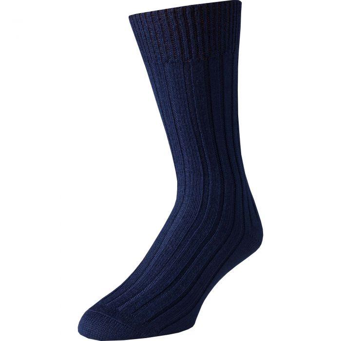 Navy Merino Mid Calf Country Sock