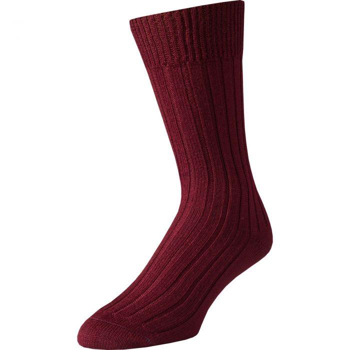 Burgundy Merino Mid Calf Country Sock