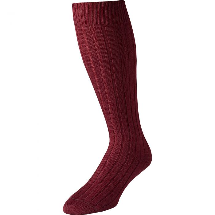 Burgundy Merino Long Country Sock