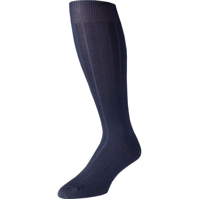 Navy Merino Long Pennine Sock