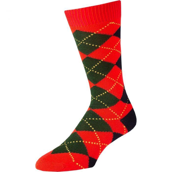 Red Angus Argyle Sock