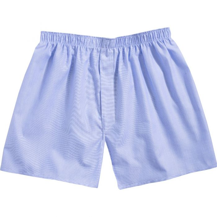 Mid Blue Twill Patterned Cotton Boxer Shorts