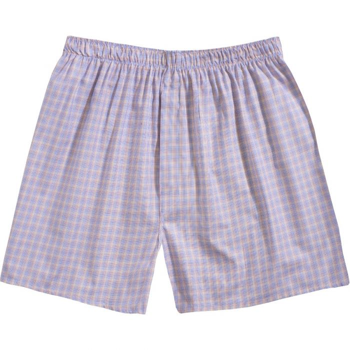 Yellow and Blue Checked Cotton Boxer Shorts