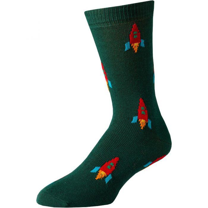 Green Moon Rocket Cotton Socks