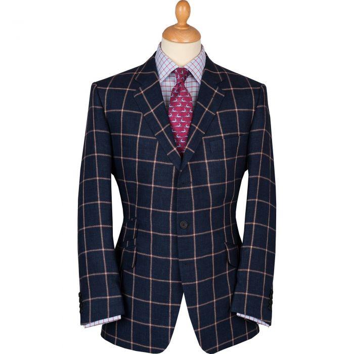 Navy Cavendish Check Linen Jacket