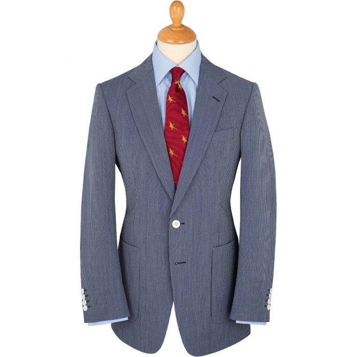 Dark Blue Piccadilly Stripe Seersucker Jacket