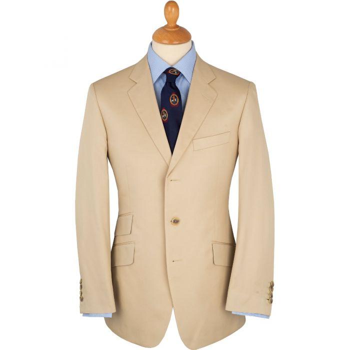 Khaki Cotton Gabardine Drill Suit Jacket