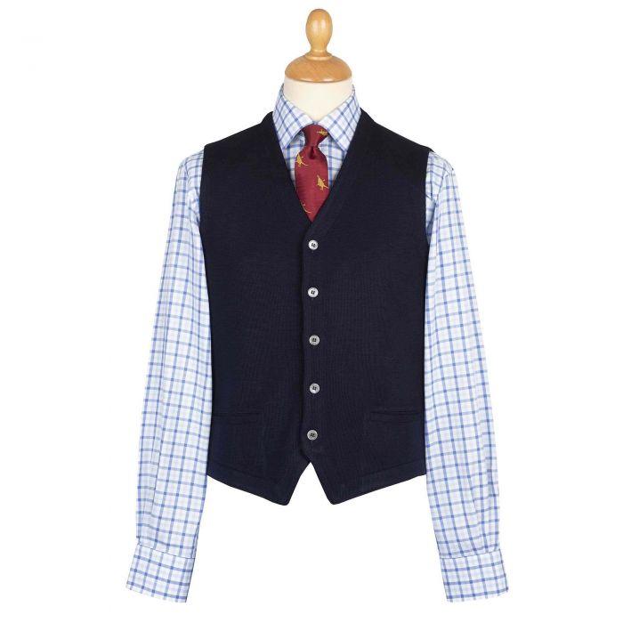 Navy Merino Waistcoat