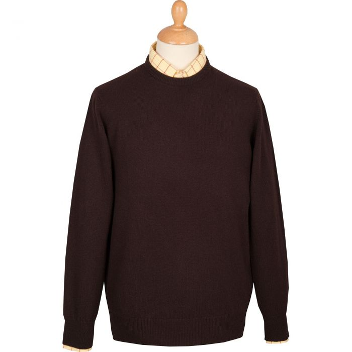 Brown Lambswool Crewneck Jumper