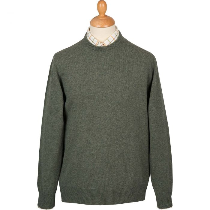 Moss Green Lambswool Crewneck Jumper