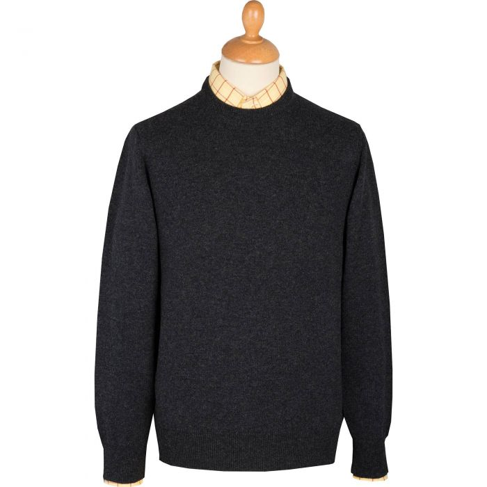 Charcoal Lambswool Crew Neck Jumper