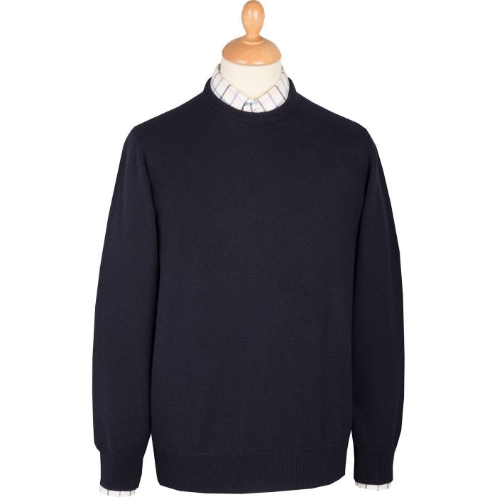 Navy Blue Lambswool Crewneck Jumper