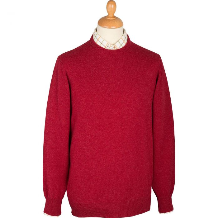 Berry Red Crew Neck Jumper on Mannequin