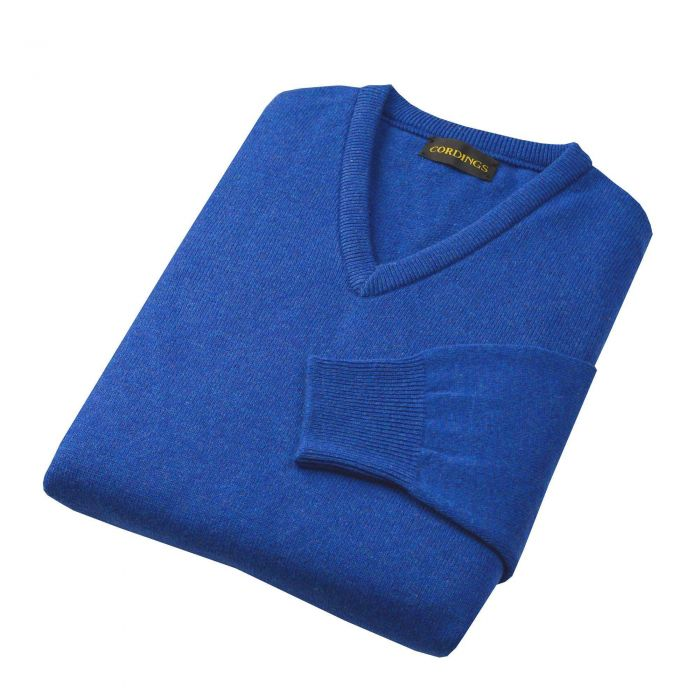 Mid Blue Lambswool V-Neck Jumper