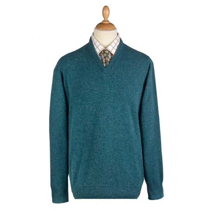 Hunter Green Lambswool V-Neck Jumper