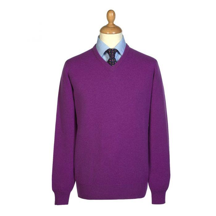 Bright Lavender Lambswool V-Neck Jumper