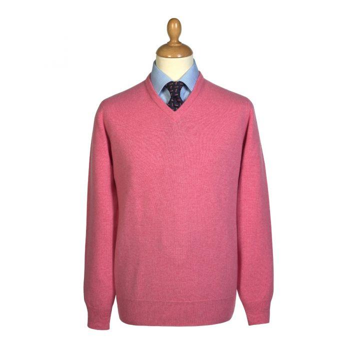 Soft Pink Lambswool V-Neck Jumper